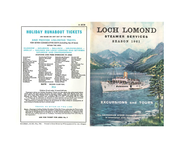 photograph relating to Printable Company Limited named Loch Lomond Steamer Companies Time 1961/ The Caledonian Steam Packet Business enterprise Constrained in just ociation with British Railways.[e book]